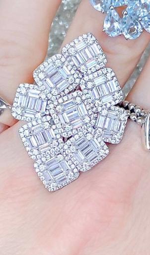 Large Classy Sterling Silver Bling Baguette Ring