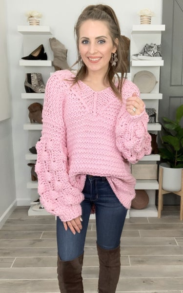 POL Doorbuster Made With Love V-Neck Knit Sweater
