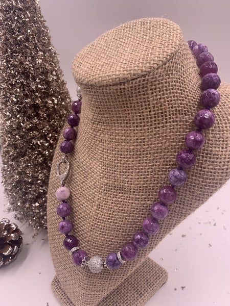 Gorgeous Purple Agate Necklace with Pave and Pearl Details