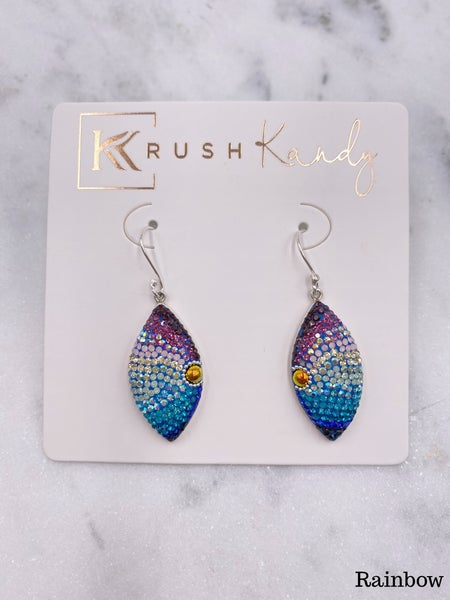 ( 5 colors) Eye Shaped Mosaic Pave Dangle Earring