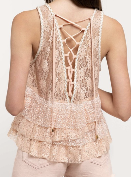 (S, M & L, 3 colors!)  POL Sleeveless Tiered Lace Top with Lace Up Back Detail