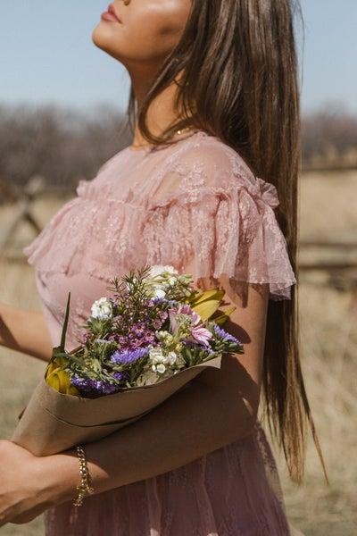 Rare Moments Ruffled Midi Lace Dress