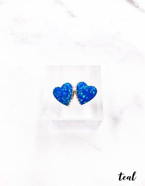 (multiple colors) Heart Stud Earrings