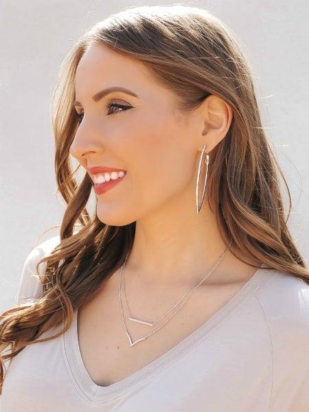 (Silver or Gold) TOP SELLER Pointed Hoop Swarovski Crystal Earring