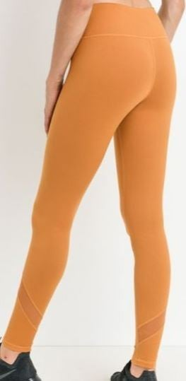 (3 Colors!) MONO B Slanted Mesh Shin Panels Full Leggings
