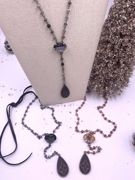 LV Upcycled Beaded Tassle Necklace with Gem