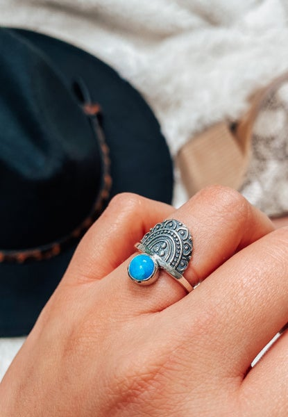 EXCLUSIVE: Free Spirit Sterling Silver Turquoise Ring
