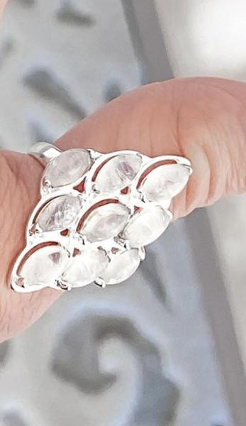Diamond Moonstone Multi Stone Ring