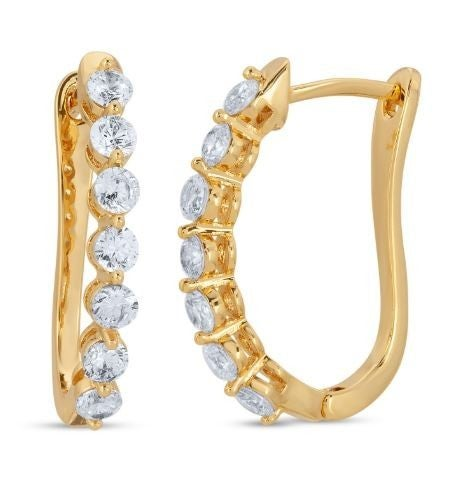 Crystal Oval Hoop Earrings
