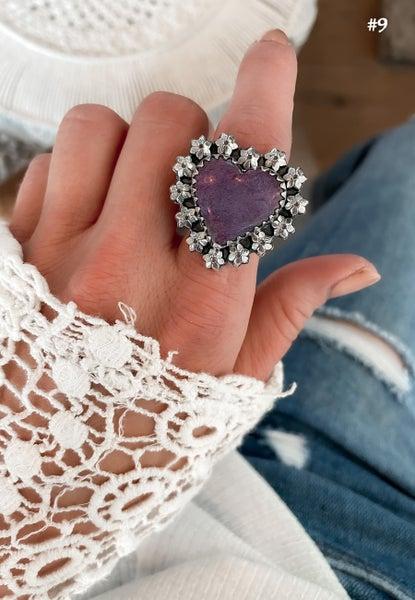 Krush EXCLUSIVE: Adjustable Silver Purpurite Heart Rings