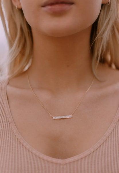 Set The Standards CZ Bar Sterling Silver Necklace