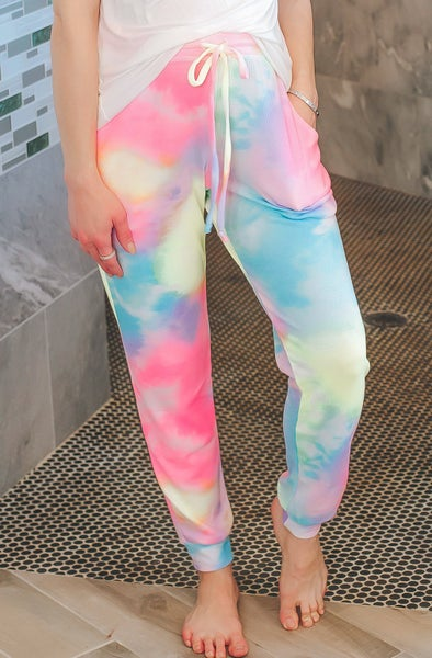 Rainbow Tie Dye Mini Thermal Joggers