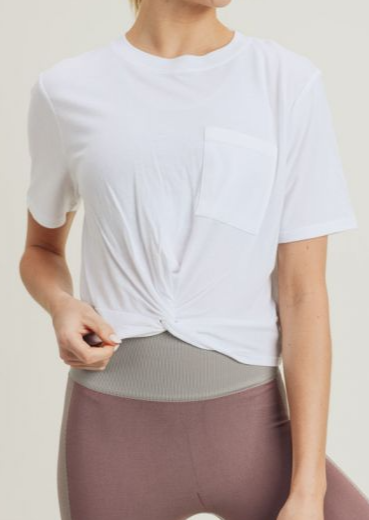Twisted Front Gathered Back Athletic Crop Top