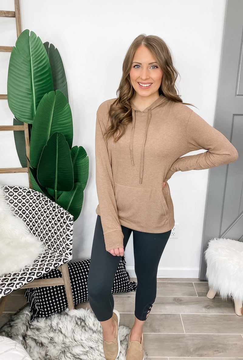 (S-3X) Grateful Heart Micro-Ribbed Hoodie Pullover