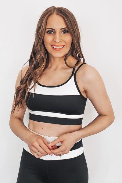 Black and White Striped Sportsbra