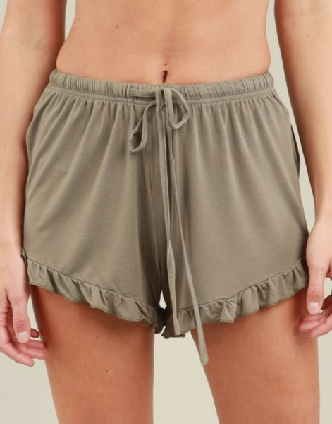 (Black or Olive) POL Adjustable Lounge Shorts With Ruffle Trim