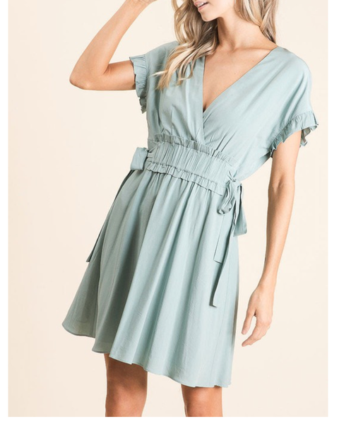 Woven Dress With Ruffled Sleeves