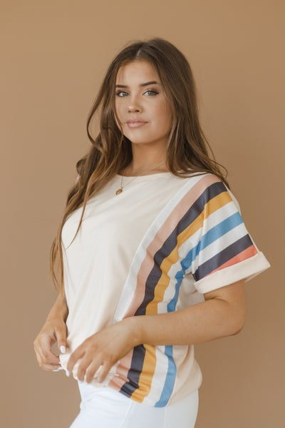 (S-XL/3 Colors) I've Seen You Before Stripe Sleeve Top