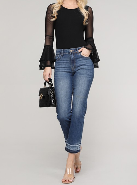 (Just Black Brand) HIGH RISE DOUBLE FRAY STRAIGHT JEAN