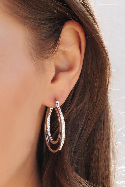 Double Oval Hoop Swarovski Crystal Earrings