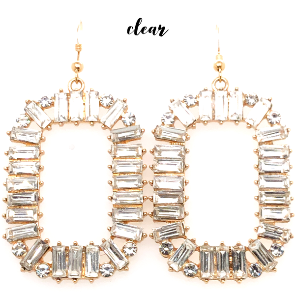 (3 colors) Baguette Gem Rectangle Earring