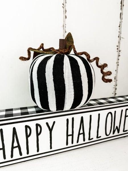 Mini Striped Fabric Pumpkin Plush