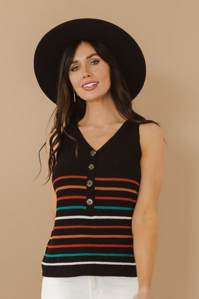 (S-2X!!) The Beauty Of It All Knit Striped Tank