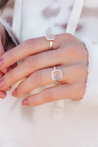 Square Faceted Stone  Ring