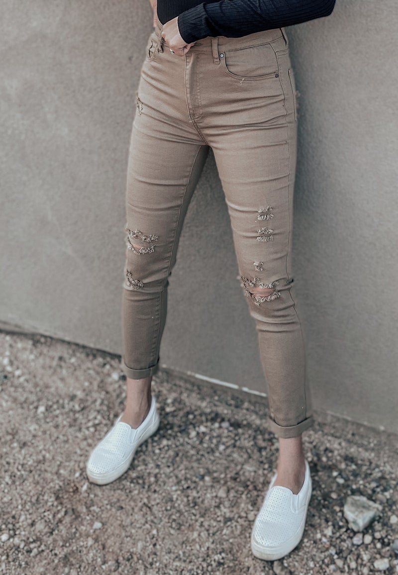 High Rise Distressed Relaxed Skinny Jean