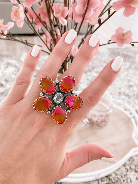 Daisy Mae Ombre Glass Stone Sterling Silver Ring