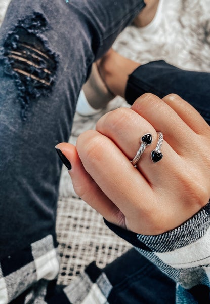 Twisted Open Band Double Heart Ring