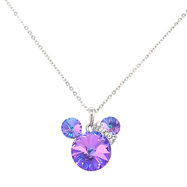 (3 colors) Minnie Mouse Swarovski Crystal Necklaces