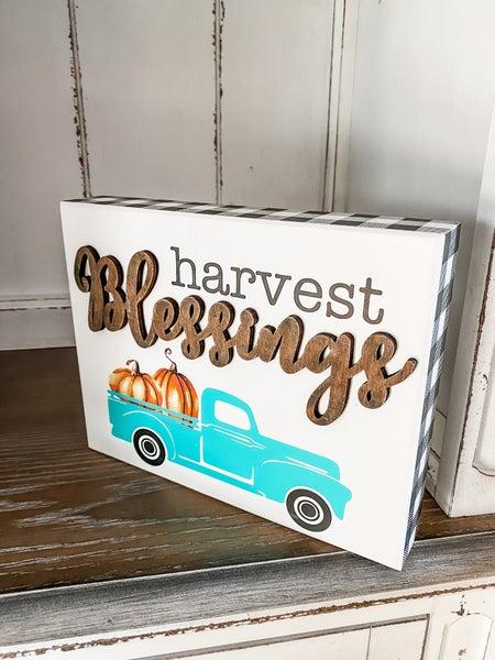 Harvest Blessings Wooden Sign