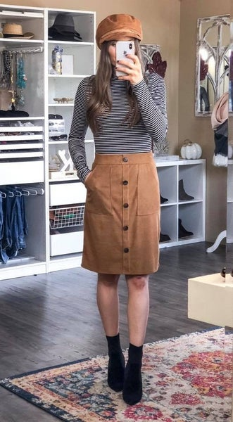 Button Front Skirt