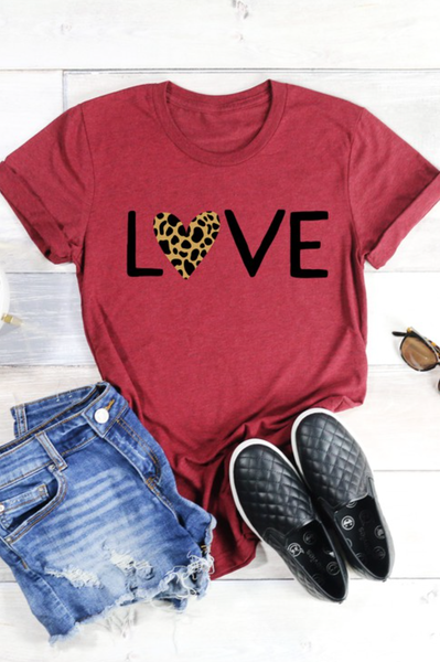 (4 colors) S-3X PRE ORDER LOVE LEOPARD Graphic Tee