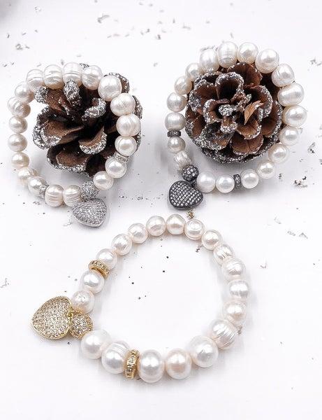 Pretty Pearl Bracelet with Heart Pendant