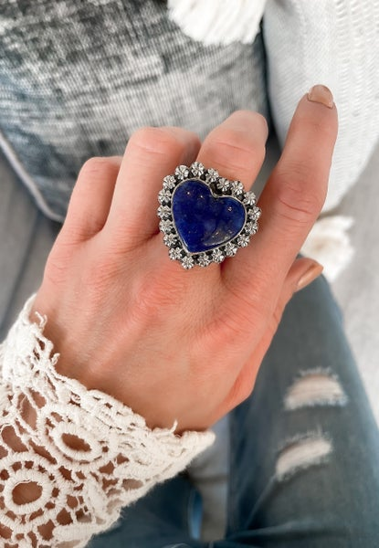 Krush EXCLUSIVE: Adjustable Silver Lapis One of a Kind Rings
