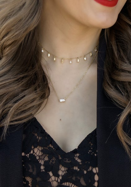 (3 Color Options!) Baby Baguette Bar Necklace