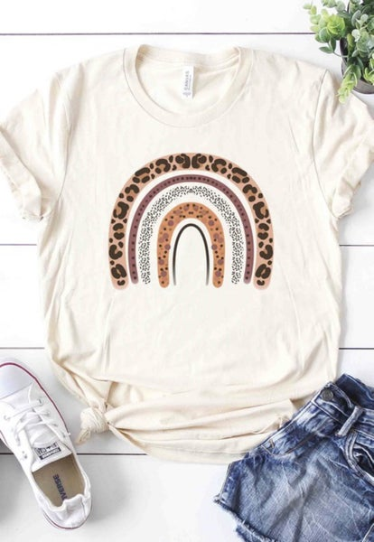 (S-3X) Leopard Rainbow Graphic Tee (in stock!)