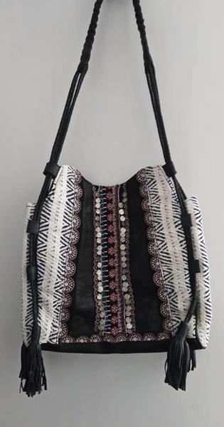 Beaded Leather and Woven Hobo Bag