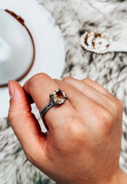 Bonded For Life Rope Detail Stone Ring