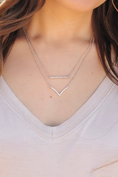 Swarovski Crystal V Shape Necklace