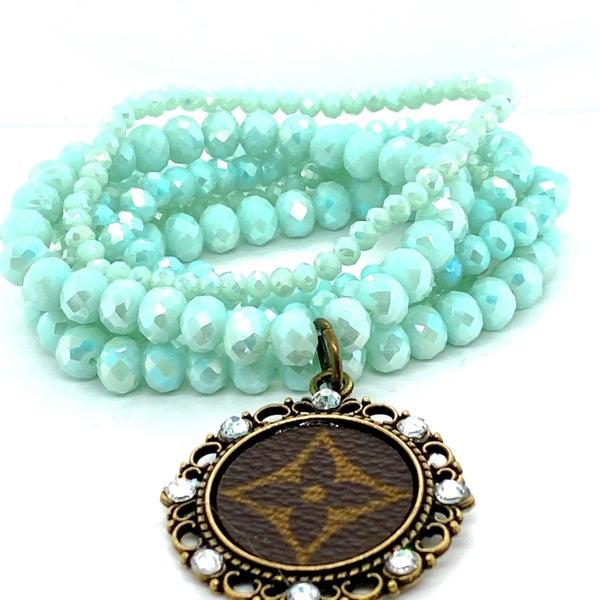 Upcycled LV Sky Blue Stacked Beaded Bracelets