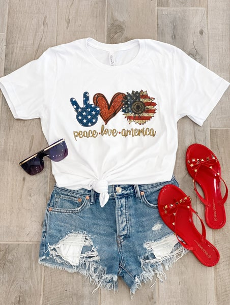 XS-4X Peace, Love, America Krush Kandy Graphic Tee