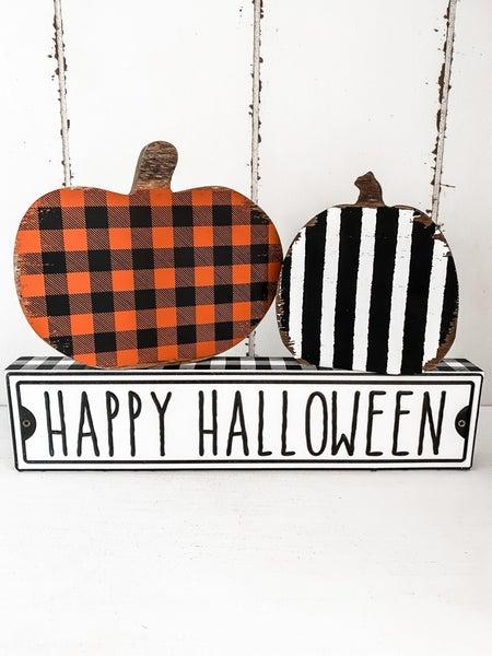 Orange Checkered Wooden Pumpkin