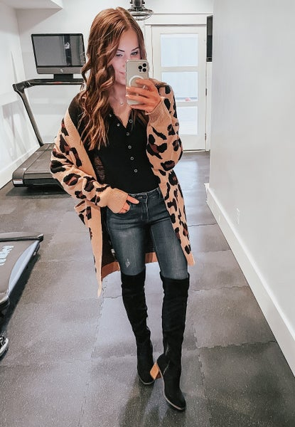 (Fits S-3X) Love You More Leopard Cardigan