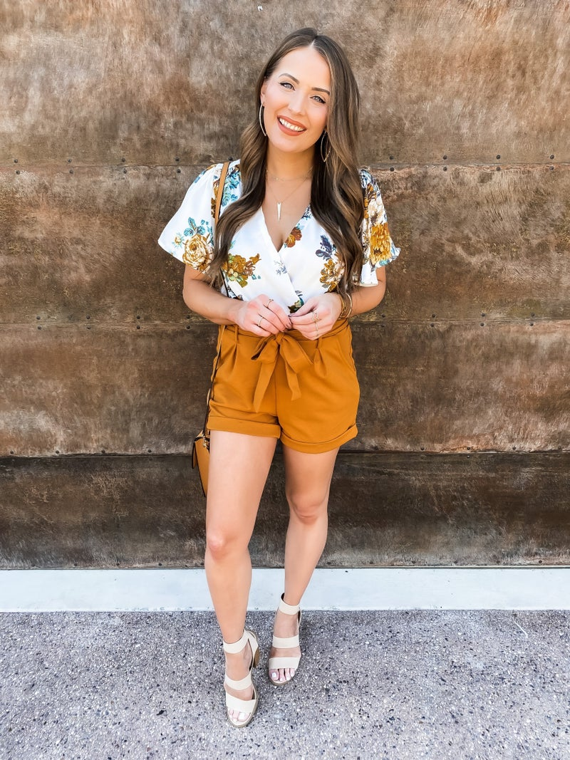 (2 colors) Grace Paper Bag Belted Shorts