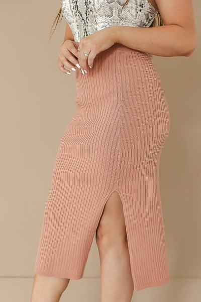 (4 colors) Ready For Anything Ribbed Sweater Skirt