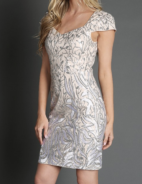 (1 L left) Queen Anne Neckline Sequins Dress