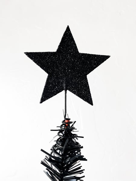 Black Glitter Star Mini Tree Topper or Table topper